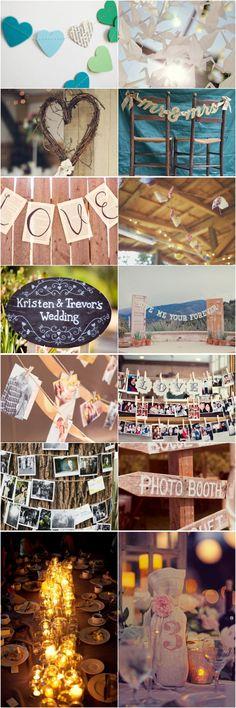 Detalhes / Casamento DIY / DIY wedding / Carações de papel / Origami / Mural de fotos / Varal de fotos / Velas em potinhos