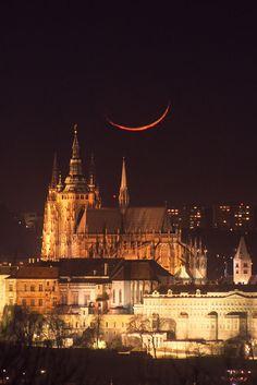 Moonset in Prague Castle, Czech Republic www.traveltoczech.cz www.traveltogroup.com