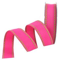"""the Ribbon Boutique 5/8"""" Hot Pink with Lime Stitching Grosgrain Ribbon 