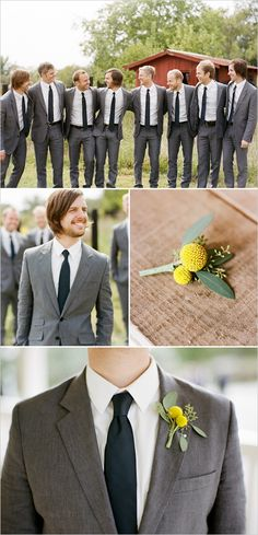 @TiffanyHarrington. This color gray with no tie, blue hankies coming out of the breast pocket, and yellow tulips!! :-))