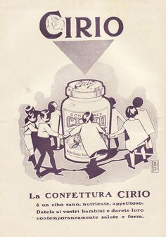 PUBBLICITA' 1928 CONFETTURE CIRIO GIROTONDO BAMBINI BALILLA