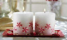 Peppermint Look Holiday Candles with Decorative Tray $8.97