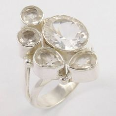 925 Sterling Silver Ring Size 8 Crystal Quartz Gemstones ! Exporter Crystal Ring, Quartz Crystal, Napkin Rings, Sterling Silver Rings, Gemstones, Crystals, Sterling Silver Thumb Rings, Gems, Jewels