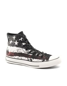 709b0073fd39 Converse All Star Stars and Stripes Hi-Tops Mens Trainers