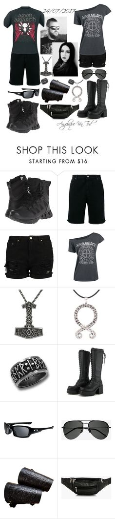 """""""Amon Amarth"""" by angelique-von-tod ❤ liked on Polyvore featuring Reebok, Golden Goose, Carolina Glamour Collection, Oakley, Yves Saint Laurent and Boohoo"""