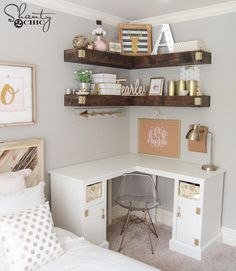 Beautiful Teenage Girls' Bedroom Designs Add more storage to your small space with some DIY floating corner shelves!Add more storage to your small space with some DIY floating corner shelves! First Apartment, Apartment Living, Cozy Apartment, Apartment Ideas, Bedroom Apartment, Living Rooms, Living Area, Cheap Apartment, College Apartment Decorations