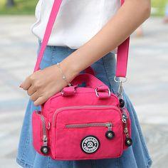 JINQIAOER Cute Mini Ladies Crossbody Bags Waterproof Nylon Handbag Tote Clutch Bags For Women Girl Travel Shoulder Messenger Bag