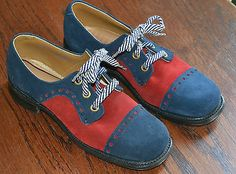 Wish they made grown up shoes like this - New Old Stock Girls Red Blue Suede Oxfords Swingers Rockabilly Dance Theatre