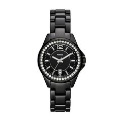 Fossil Ladies Stone Set Ceramic Watch with Black Dial