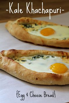 Kale Khachapuri (Egg and Cheese Bread)- the best brunch or breakfast pizza! Fromage Cheese, Cheese Bread, Cheese Dishes, Cheese Plates, Kosher Recipes, Cooking Recipes, Kale Recipes, Savoury Recipes, Cooking Time