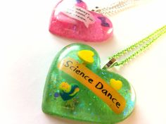 Adventure Time Quote Glitter Heart Necklaces