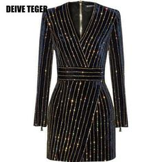 DEIVE TEGER winter Brand New Hot Long Sleeve Striped Diamonds V-Neck Fashion Sexy Vestidos Women Mini Dress