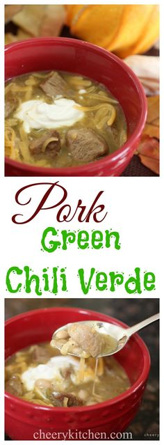 Pork Green Chili Verde, so warm and delicious on windy autumn nights.  Serve with cornbread for rave reviews!
