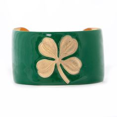 "In honor of Saint Patrick, Wimberly is giving away a kelly green four-leaf clover enamel cuff. To enter, go to our Facebook page, http://on.fb.me/wRAm2k, and ""like"" this post. Please share and re-pin! Drawing on 3/23. Good LUCK! Erin go Braugh!"