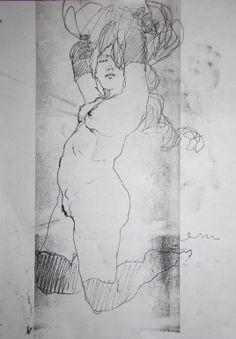 """Saatchi Art Artist: Michael Lentz; Pen and Ink 2013 Drawing """"NUDE No. 3111 (60 x 43 cm)"""""""