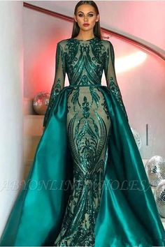 modabelle Green Sequin Long Sleeve Evening Dresses Muslim 2018 With Detachable Train Bling Moroccan Kaftan Formal Gowns Party. Evening Gowns With Sleeves, Prom Dresses Long With Sleeves, Best Prom Dresses, Mermaid Prom Dresses, Maxi Dresses, Dress Prom, Wedding Dresses, Bridesmaid Dress, Homecoming Dresses