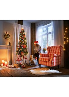 Overgordijn «Led-kerstboom» (1 stuk) wit/multicolor - bpc living - bonprix.nl Christmas Tree, Holiday Decor, Bpc Living, Home Decor, Holiday Decorating, Christmas, Brown, Teal Christmas Tree, Decoration Home