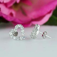 71b55105f 1.00 Carat Round Diamond Heart Stud Earrings 14k White Gold Finish  Valentine Day #AnimasJewels #