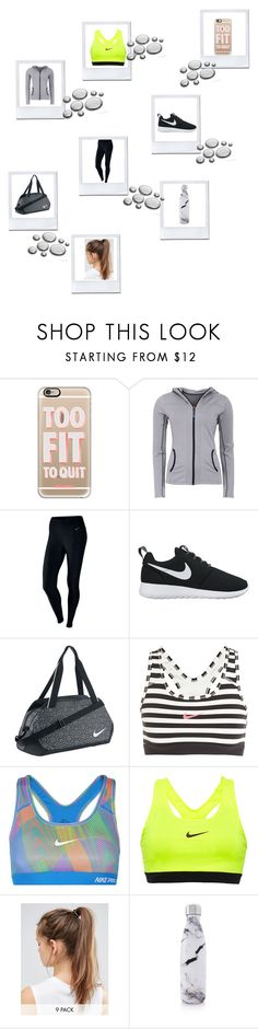 """""""New Years workout Polaroid 04"""" by fashioncat01 ❤ liked on Polyvore featuring Casetify, Green Lamb, NIKE and S'well"""