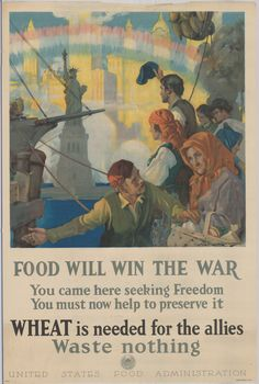 WWI Poster.  Food Will Win the War.  U.S. Food Administration.  Delaware Public Archives.  www.archvies.delaware.gov