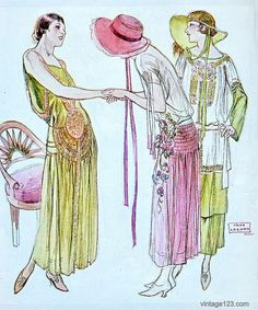 "November 1923 Lanvin Fashion    From the November 1923 issue of Woman's Home Companion magazine. "" Yes , aren't we all fantastically langorous?"""