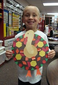 Turkeys with pattern blocks  Can also make wreaths or necklaces: