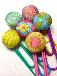 Floral Round Fabric Button Paperclips for Planners, Filofax, Gillios or Books Notebooks Midori