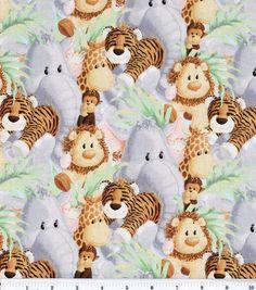 Nursery Fabric Jungle Babies Animal All Over & Nursery Fabric at Joann.com