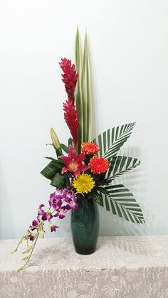 Contemporary Flower Arrangements, Tropical Flower Arrangements, Flower Arrangement Designs, Church Flower Arrangements, Christmas Floral Arrangements, Church Flowers, Tropical Flowers, Tall Flowers, Unusual Flowers