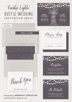 Garden Lights Rustic Wedding Invite