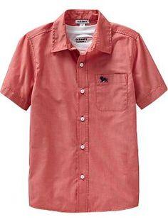 Boys Short-Sleeve Poplin Shirts for boys to wear