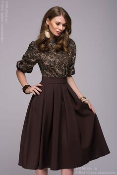e100339ed87c Dress DM00234BD dark brown MIDI length with a printed top and a batwing  sleeve