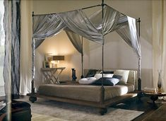 Bedroom Designs, The Enchanting Silver Colour Twin Canopy Bed Curtains Canopy Beds With Curtain Decor For Your Bedroom Like A Princess: Beau...