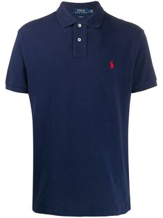 Navy blue cotton embroidered logo polo shirt from Ralph Lauren featuring a contrast embroidered logo at the chest, a classic polo collar, a front button placket and short sleeves. Polo Shirt Logo, Pique Polo Shirt, T Shirt, Polo Blue, Polo Jeans, Camisa Polo, Cotton Style, Polo Ralph Lauren, Short Sleeves