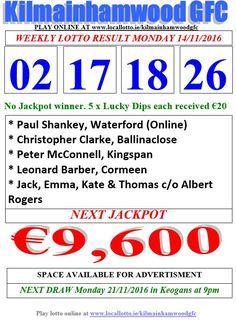 Kilmainhamwood GFC Lotto & News Jackpot Tickets www.ie/kilmainhamwoodgfc Lotto Online, Play Lotto, Lotto Draw, Kevin Quinn, Jackpot Winners, Lottery Results, Play Online, News 15, Projects