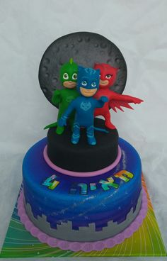 Resultado de imagen para heroes en pijama en porcelana fria Pj Masks Birthday Cake, Small Birthday Cakes, Boy Birthday Parties, 4th Birthday, Pj Masks Cake Topper, Torta Angel, Festa Pj Masks, Cake & Co, Character Cakes