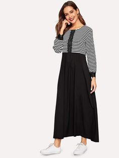 To find out about the Striped Contrast Lace Bishop Sleeve Dress at SHEIN, part of our latest Arabian Clothing ready to shop online today! Dress P, Hijab Dress, Hijab Outfit, Modest Long Dresses, Modest Fashion, Fashion Dresses, Types Of Sleeves, Dresses With Sleeves, Fashion News