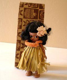 Vintage Hawaiian Hula Girl Doll in Original Box
