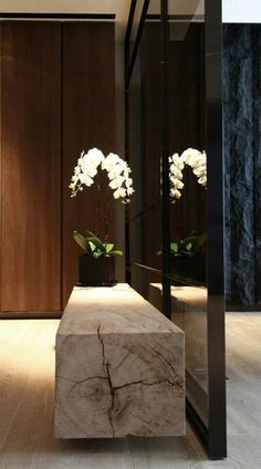 modern hall design with wood slab console