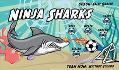Sharks-Ninja-41344 digitally printed vinyl soccer sports team banner. Made in the USA and shipped fast by BannersUSA. www.bannersusa.com