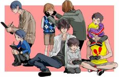 The guys of persona 5 with their younger selves (artist?)