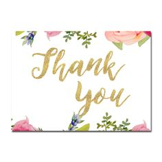 Wedding Sign - Thank You - Pretty Floral Gold Glitter - Instant Download Printable - Style 1 - 5x7