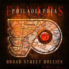 "Philadelphia Flyers ""Broad Street Bullies"" Vintage Map - Perfect Christmas & Birthday Gift - Unframed Print"