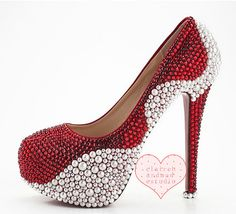 Red Bridal Shoes Crystal Pearl  wedding shoes in handmade