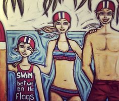"""""""I love Point Lookout"""" original artwork on canvas by Sarah Thomas 120 x 100cm donated to the Qld Surflifesaving Surf Girl campaign 2016 for much needed fundraising. SWIM BETWEEN THE FLAGS. Commission me to paint a lifesaving theme for your home/surfclub and I will donate 10% of the purchase price to your surf lifesaving club :)"""