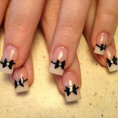 Black Bow French Manicure