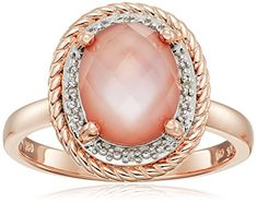 Rose Gold Plated Sterling Silver Oval Rope Pink Amethyst ...