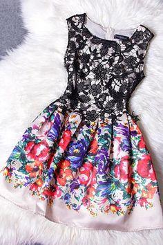 Embroidered lace stitching Print dress MFk