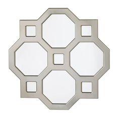 """25"""" Silver Metal Octagon Modern Wall Art Mirror Contemporary Home Decor"""