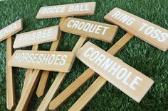 YARD GAME Signs, Party Signs, Wedding Game Signs, Family Reunion, BBQ, Bocce Ball, Croquet, Cornhole, Horseshoes, Lawn Games, Jenga, Frisbee